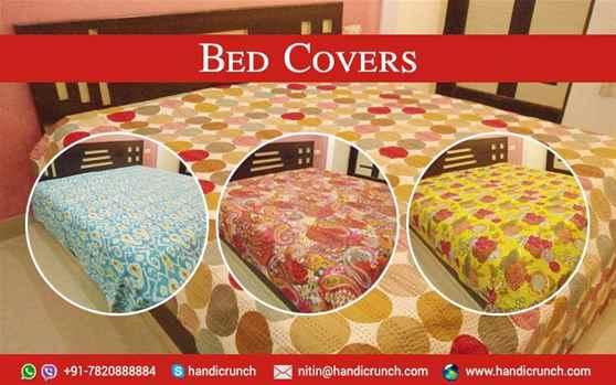 Handmade Kantha work bedcovers online by Handicrunch
